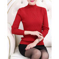 Elegant Women Long Sleeve Half Turtleneck Pure Color Knit Sweater