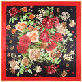 90*90cm Women Ladies Flower Floral Printed Multifunctional Satin Square Headband Scarf Shawls