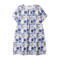 Plus size Women Loose Printed Multi-color Round Collar Short Sleeved Cotton Dresses