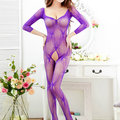 Sexy Open Crotch Backless Long Sleeved Transparent Mesh Bodystocking For Women