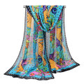 160CM Women Chiffon Painting Animal Printed Long Soft Scarf Casual Thin Warm Shawl Scarves