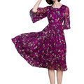 Women Half Sleeve O Neck Floral Printed Chiffon Vintage Dress