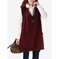 Pure Color V-neck Vest Sweaters