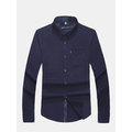 Mens Military Solid Color Front Pocket Turndown Collar Long Sleeve Casual Shirts
