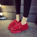 Tassel Butterfly Knot Warm Slip On Fur Lining Flat Lazy Shoes