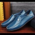 Men Leather Star Pure Color Brtish Style Slip On Casual Lazy Shoes