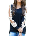 Plus Size Women O Neck Long Sleeve Hollow Lace Splicing T-shirt