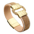 Luxury Women Bracelet Full Rhinestone Belt Buckle Wide Magnetic Leather Bracelet