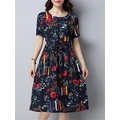 Women Foral O-Neck Short Sleeve Loose Print Dresses