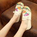 Flower Leaf Embroidered Flat Chinese Knot Canvas Loafers
