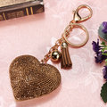 Sweet Heart Penadant Rhinestone Studded Leather Tassels Keychain