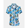 Plus Size Mens Summer Floral Pattern Printing Turndown Collar Short Sleeved Cotton Beach Shirts