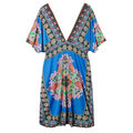 Bohemian Sexy Deep V Drawstring Printed Women Beach Dresses