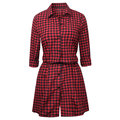 Casual Plaid Button Fly Turn-Down Collar Women Dresses