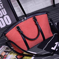 Women Canvas PU Leather Handbag Elegant Shoulder Bags Totes