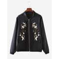 Women Vintage Floral Embroidery Stand Collar Jacket