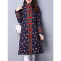 Chinese Style Floral Printed Button Fly Coats For Women