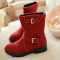 Double Buckle Mif Calf Pure Color Flat Boots For Women