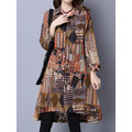 Ethnic Vintage Printing Turn-down Collar Long Sleeve Button Cardigan For Women