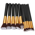 10 Pcs Wooden Handle Makeup Brush Set Beauty Facial Brushes