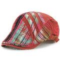 Women Men Cotton Washed Beret Cap Lines Stripe Adjustable Buckle Newsboy Cabbie Hat