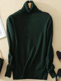 Mujeres de cuello alto de manga larga de color puro de fondo de los suéteres