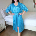 Sexy Ice Silk Two Piece Suit Lace Spaghetti Strap Nightdress With Robe For Woman