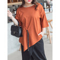 Yizhiyu Casual Women Solid Color Half Sleeve Irregular Blouse