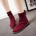 Soft Stitching Pure Colour Fashion Sexy Slim Suede Ankle Boots For Women