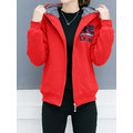 Casual Letters Printed Zipper Women Hooded Coats