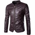 Повседневная мода Кожа PU Стенд Ошейник Slim Fit куртки молнии для мужчин