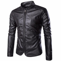 Casual Fashion PU Leather Stand Collar Slim Fit Zipper Jackets For Men