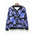 Casual Floral Patchwork Long Sleeve Stand Collar Women Baseball Jackets