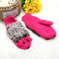 Women Girls Cute Cartoon Hedgehog Gloves Winter Warm Knit Outdoor Mittens