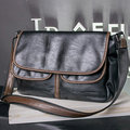 Business PU Leather Crossbody Bag Message Bag Solid Casual Shoulder Bag For Men