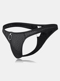 Sexy Ring Breathable Mesh Nylon Solid Color Thongs Underwear for Men