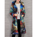 Casual Pocket Colorful Printed Hooded Coats For Women