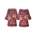 Bohemian Print Off-shoulder Horn Sleeve Mini Dress For Women