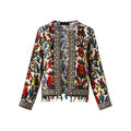 Printed Embroidery Tassels Stitching Jacket