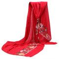 Женщины Льняные хлопчатобумажные вышивки Цветочная вышивка Национальный стиль Украла длинную шальную обертку