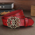 Women Ladies Second Layer Belt Cow Genuine Leather Flower Strap Retro Lotus Leaf Buckle Belts