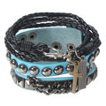 Men's Punk Rivet Multilayer Leather Cross Wrap Bracelet Jacket Accessories