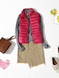 Sleeveless Pure Color Down Coats