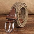 95CM Women Casual Elastic Canvas Belt Pin Buckle Knitting Canvas Belt Outdoor Travel Waistband
