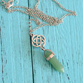 Colorful Natural Stone Hexagonal Pendant Necklace Sweater Chain Gift for Her Women Jewelry