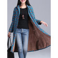 Casual Floral Print Thicken Long Sleeve Lapel Women Coats