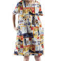 Fashion Printed Short Sleeve O-Neck Pockets Dress For Women