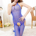 Sexy Fishnet Halter Deep V Hollow Out Open Crotch Temptation Bodystocking