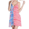 SWIMMART Stars and Striped Flag V-neck Backless Cover Up For Women