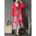 Folk Style Print Splited Frog Button Long Sleeve Women Coats